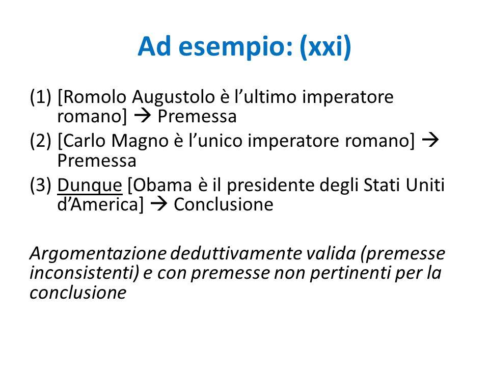 Ad esempio: (xxi) [Romolo Augustolo è l'ultimo imperatore romano]  Premessa. [Carlo Magno è l'unico imperatore romano]  Premessa.